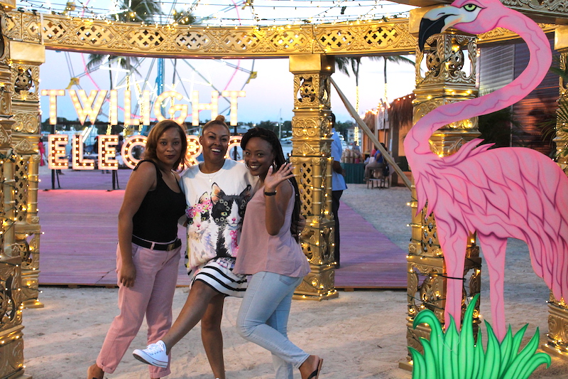 Macushla Pinder, Rogan Smith and Ebonique Pitts pose at the Twilight Electric Festival