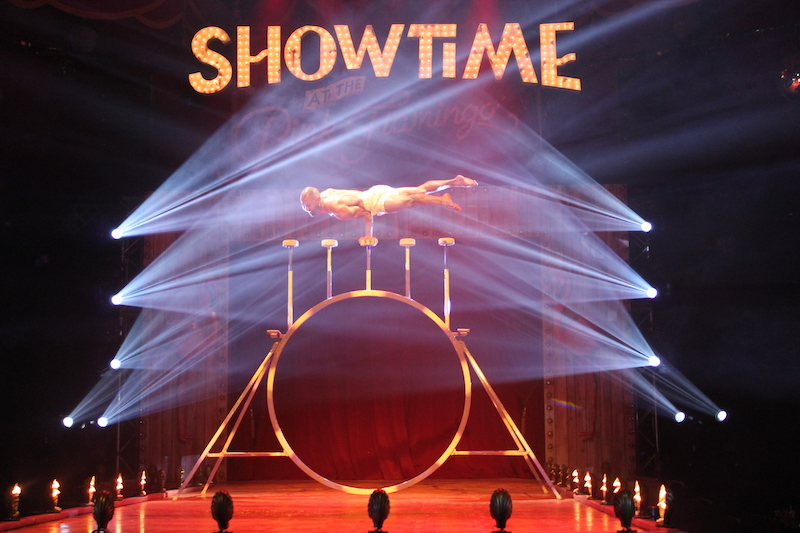 Showtime at the Pink Flamingo. An acrobat shows his strength. (Photo/Rogan Smith)