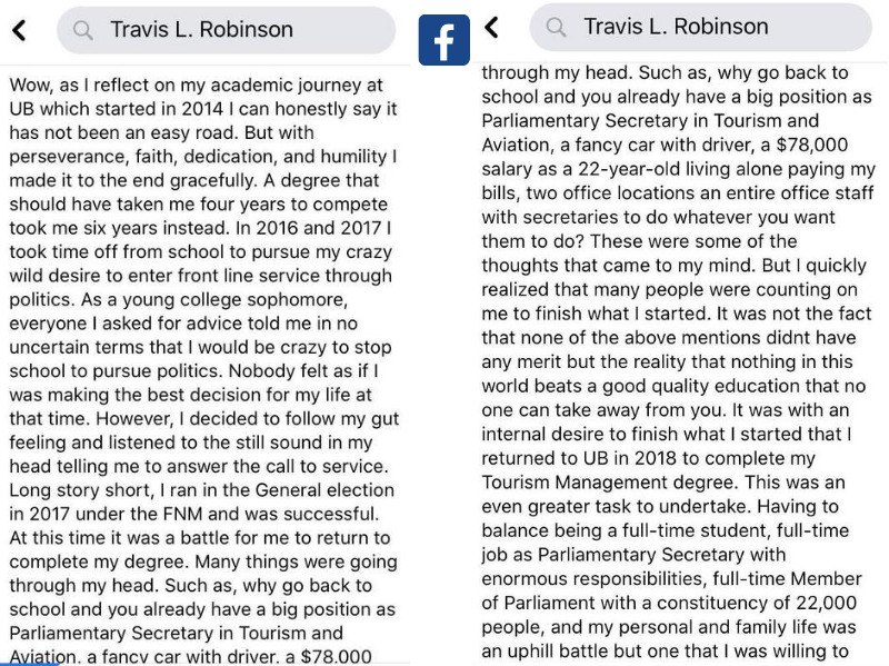 Travis Robinson discusses his political journey in a  Facebook post.