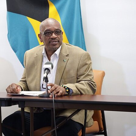 Prime Minister Dr. Hubert Minnis addresses the Bahamian media during a news conference.